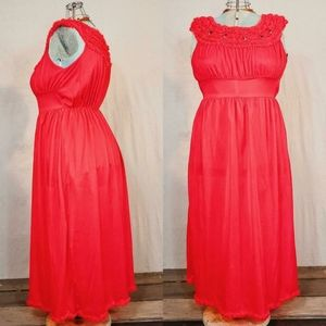 Gorgeous 1960s vintage pinkish red nightgown!